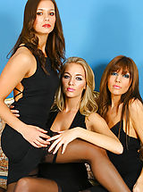 3 gorgeous girls give us a delightful treat in sexy black evening dresses